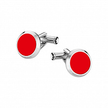 00118880 CUFFLINKS, ROUND, STEEL RED MONTBLANC