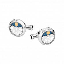 00116667 CUFF LINKS, ROUND, STEEL, MOONPHASE MONTBLANC