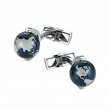 00112998 CUFF LINKS, STEEL, ALU GLOBE, BLUE MONTBLANC