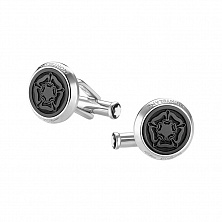 00114765 CUFF LINKS, SHAKESPEARE, STEEL, BLACK MONTBLANC